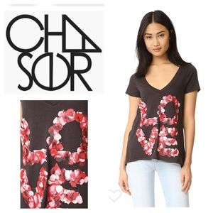 Chaser LOVE rose petals tee in black